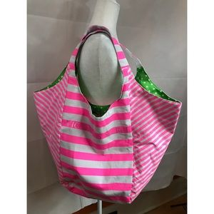 Victoria Secret : Shoulder  Pink Striped Tote Bag